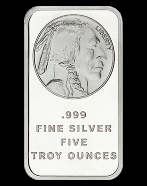 SilverTowne Silver Buffalo Bullion Bar 5 OZ Obverse