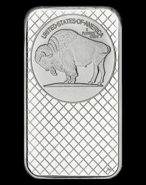 SilverTowne Silver Buffalo Bullion Bar 5 OZ Reverse