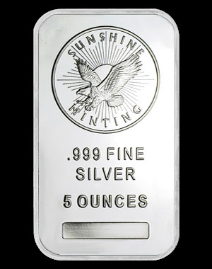 Sunshine Mint Silver Bullion Bar 5 OZ Obverse