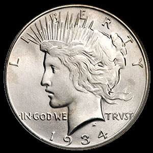 1922-1935 US Silver Peace Dollar Obverse