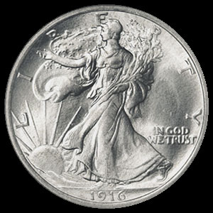Silver American Walking Liberty Half Dollar 90 percent 1916-1947 Obverse