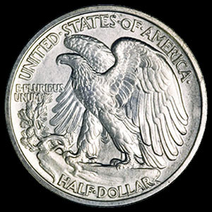 Silver American Walking Liberty Half Dollar 90 percent 1916-1947 Reverse