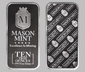 Mason Mint Silver Bullion Bar 10 OZ